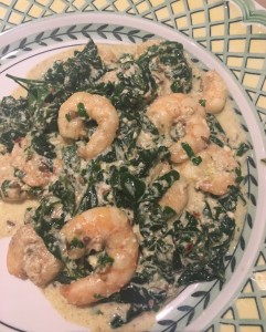 Gee Cartwright Cookery – Spicy Prawns with Spinach and Coconut