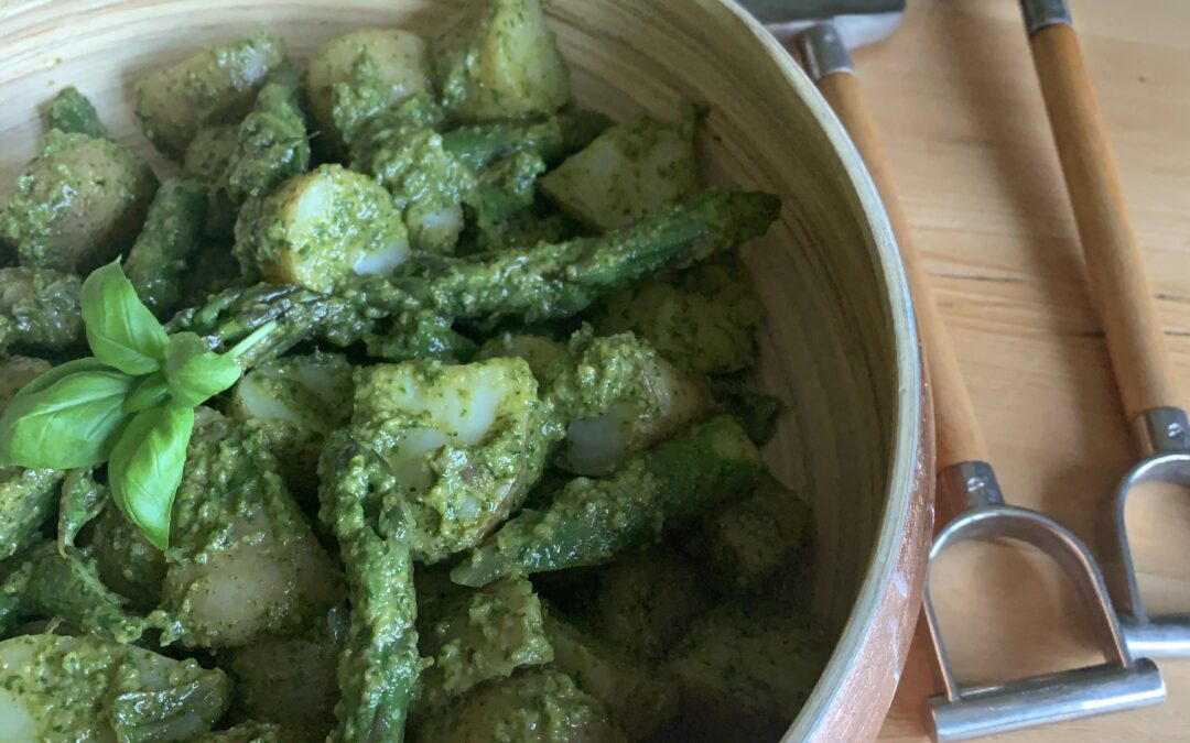 JERSEY ROYALS & ASPARAGUS WITH MINT & BASIL PISTOU