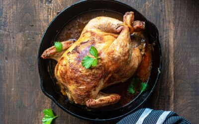 ROAST CHICKEN IN CIDER AND APPLES