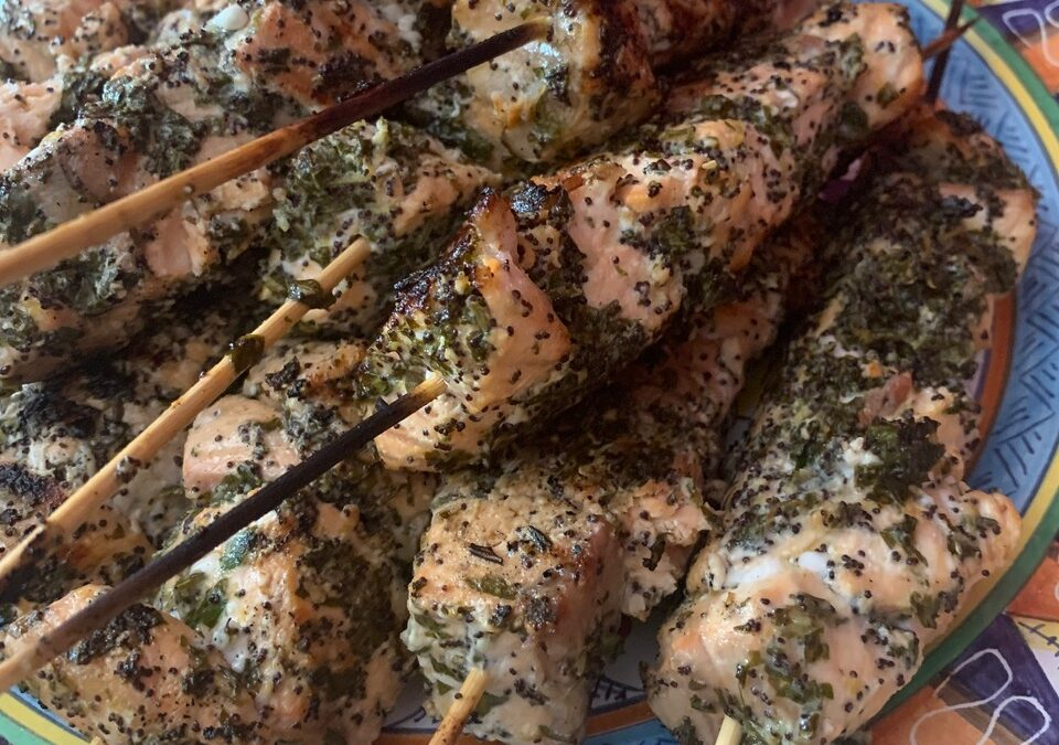 LEMON AND HERB MARINATED SALMON SKEWERS WITH GREEN SAUCE