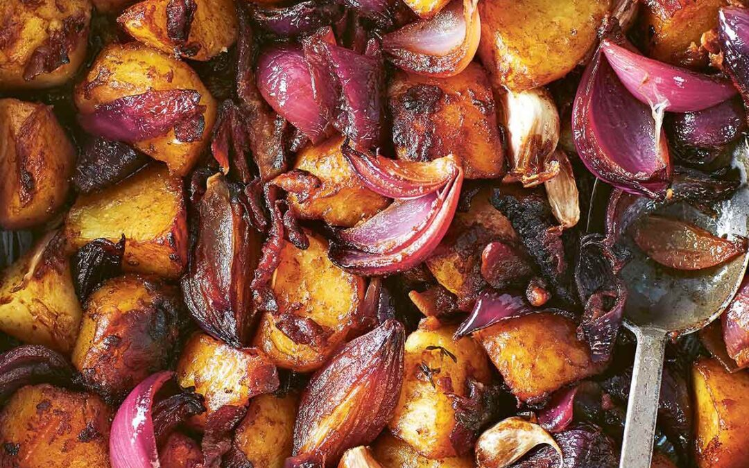 ROASTED POATOES WITH RED ONION, BALSAMIC & PANCETTA