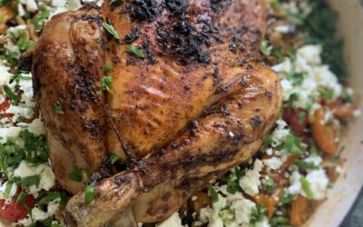 HERB ROASTED CHICKEN WITH ORZO, AUBERGINE, TOMATO AND FETA